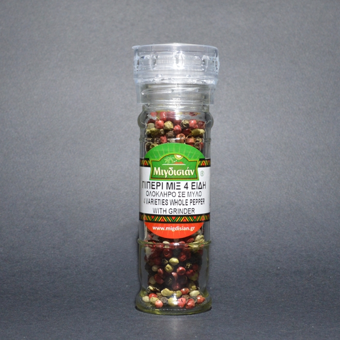 4 VARIETIES WHOLE PEPPER WITH GRINDER